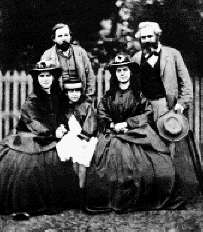 Jenny, Laura, Eleanor, Engels and Marx (1864)
